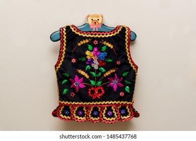 Handmade Polish traditional costume (Stroj Krakowski) in the making. - Shutterstock ID 1485437768