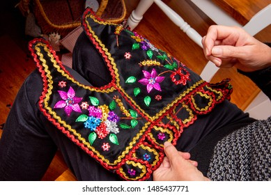 Handmade Polish traditional costume (Stroj Krakowski) in the making. - Shutterstock ID 1485437771