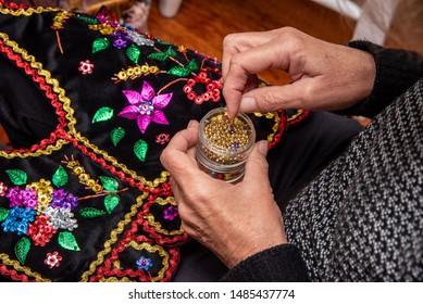 Handmade Polish traditional costume (Stroj Krakowski) in the making. - Shutterstock ID 1485437774