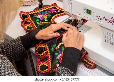 Handmade Polish traditional costume (Stroj Krakowski) in the making. - Shutterstock ID 1485437777