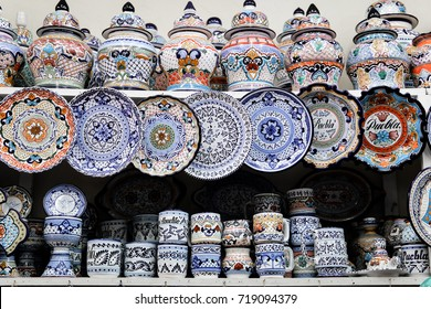 Handmade pottery and handpainted Talavera Pottery in Puebla Mexico. Traditional art and patterns