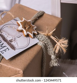 Handmade Сhristmas presents wrapped in paper and – stock image