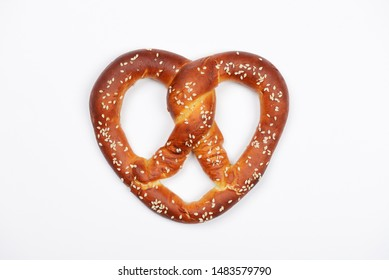 The hand-made pretzel for Octoberfest party on white background