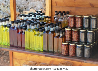Handmade products for sale, as oil, olives, liqours