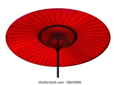 A handmade red, Asian parasol or umbrella