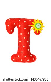 Handmade red letter T made of felt. Childrens alphabet T with small sunny flower and beads.