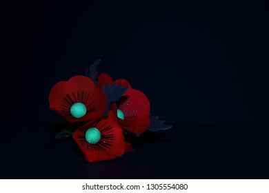 Handmade red poppy flower on black background.The poppy is a  symbol of Remembrance and hope.become a symbol of remembrance of soldiers who have died during wartime.