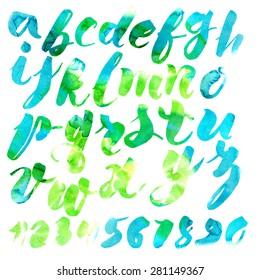 Handmade Roman alphabet - watercolor style