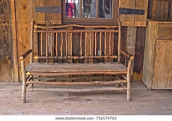 Amazing Handmade Rustic Round Wood Bench Mortise Stock Photo Edit Machost Co Dining Chair Design Ideas Machostcouk