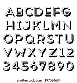 Handmade sans-serif font. Regular 3d-extruded type