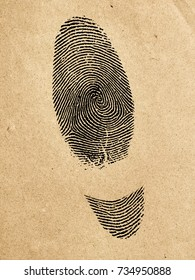 Handmade shoes symbol. Manufactured shoes concept.Silhouette of shoes track from fingerprint.On old paper