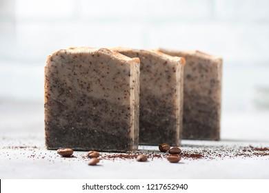 Handmade soap bars with coffee. Organic soap. Spa treatments. Selective focus