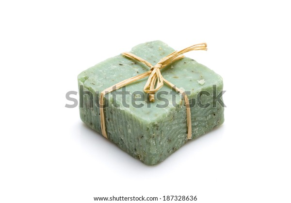Handmade soap isolated on white background