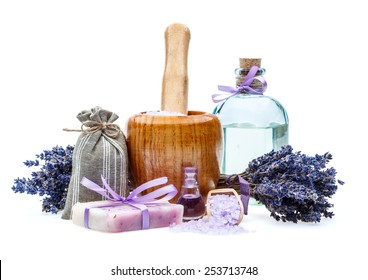 Handmade soap with lavender and sea salt isolated on white