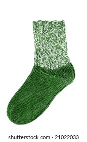 Handmade socks in front of a white background
