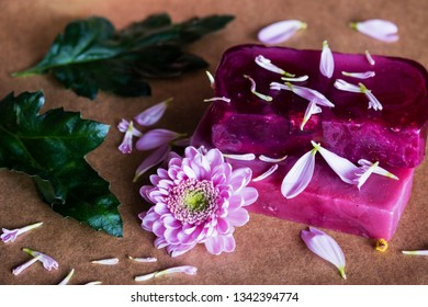 handmade spa natural soap closeup with flowers and petals