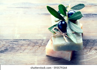 Handmade Spa Olive Oils Soap closeup. Organic Soap making. Soap bars closeup. Spa treatments, skin care concept