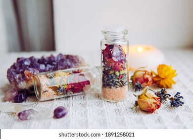 Handmade spell jar bottles with good intentions for home protection and inner balance. Filled with Himalayan rock salt, dried herbs flowers and semi precious stone chips. Magical item.