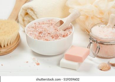 Handgefertigte Zucker Pfirsichschere mit Arganöl. Himalaya-Salz. Toilettenartikel, Spa-Set