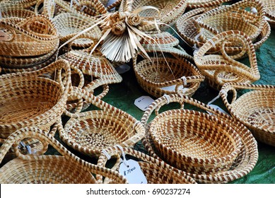 Handmade Sweetgrass, a South Carolina Low Country Traditional Craft, on Display at Charleston's City Market