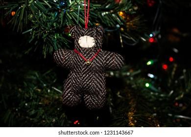 Handmade Teddy Bear Christmas Ornament on a Christmas Tree