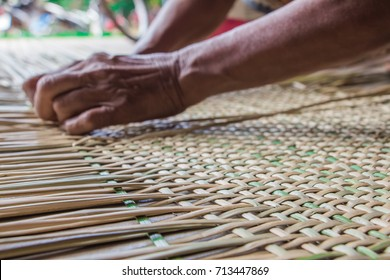 Handmade in Thailand of Woven mats  from reed dye colorful.