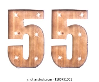 Handmade Tin and Wooden Number Fifty Five Sign with lights on a white background