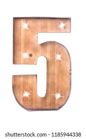 Handmade Tin and Wooden Number Five Sign with lights on a white background