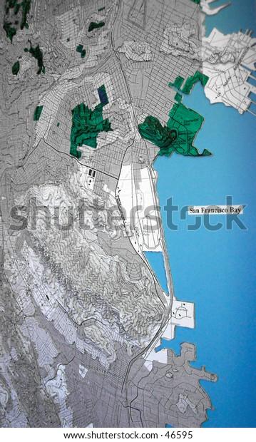Handmade topographic map of San Francisco Bay.