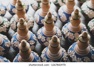 Handmade traditional craft known as 'labu sayong' normally used as gift or souvenir found in Perak,Malaysia. Clay pottery arts. Artistic clay container carving.