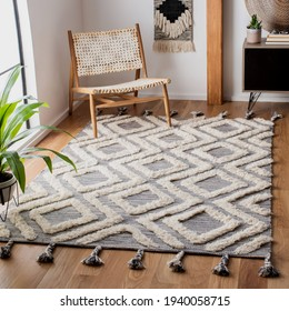 Handmade traditional rug in modern abstract style.