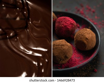 handmade truffle candies with dry raspberry flavor in dark moody