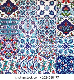 Handmade Turkish Blue Tiles on the wall in Istanbul City, Turkey. Close up
