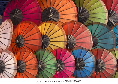 Handmade Umbrella at walking street market, Luang Prabang, Laos
