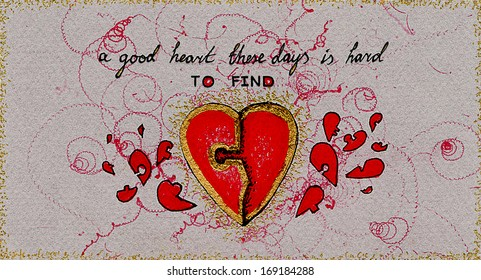 """Handmade valentine with red hearts puzzle pieces and black text """"a good heart these days is hard to find"""" on grayish background"""