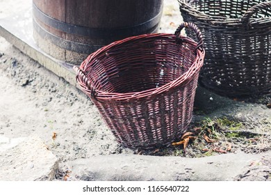 Handmade vintage village objects concept. Big empty decorative wicker baskets on market