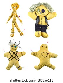 Handmade Voodoo dolls set isolated on white
