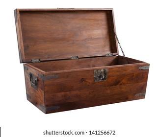 A handmade walnut chest open