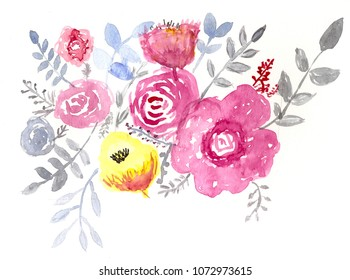 Handmade watercolor flowers and leaves