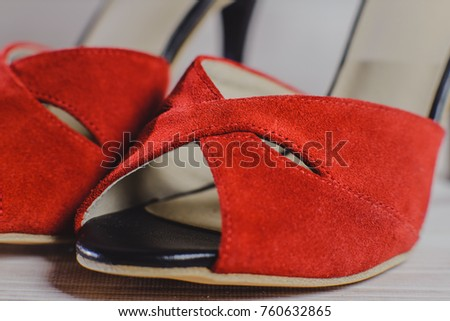 27a18a440660 hand-made women s dance shoes made of genuine leather on the wooden surface  macro photography
