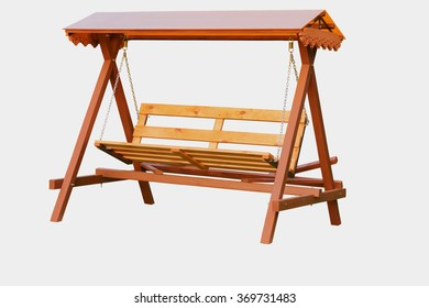 Handmade wooden bench swing isolated.