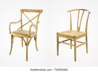 handmade wooden dining chairs isolated on white background