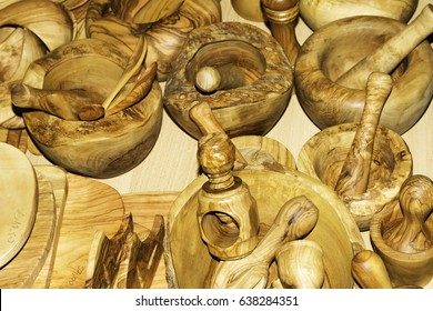 Handmade wooden mortar close-up