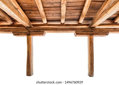Handmade wooden roof interior on white background