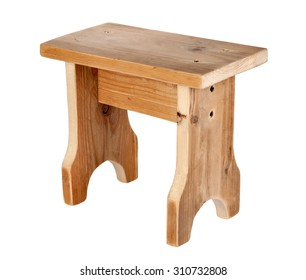 Handmade wooden stool isolated on white background