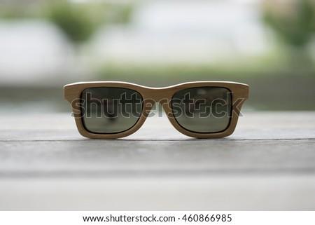 616ff97b47bef Handmade Wooden Sunglasses On Wood Table Stock Photo (Edit Now ...