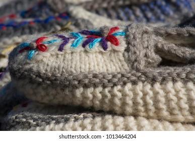 Handmade woolen footwear for the winter