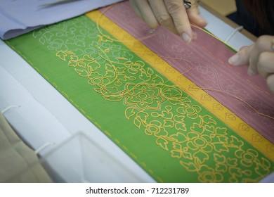 Handmade work,Sewing gold on silk,.Art of Asia Thailand