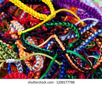 Handmade woven bracelets background