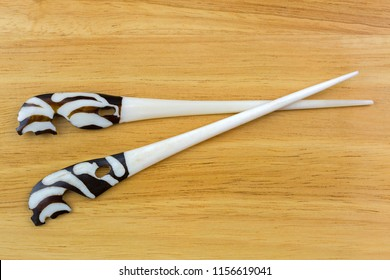 Handmade Zebra carved bone hairpin. White hair fork dyed in ground coffee with safari animal pattern, handcrafted hair accessary, souvenir gift from Africa